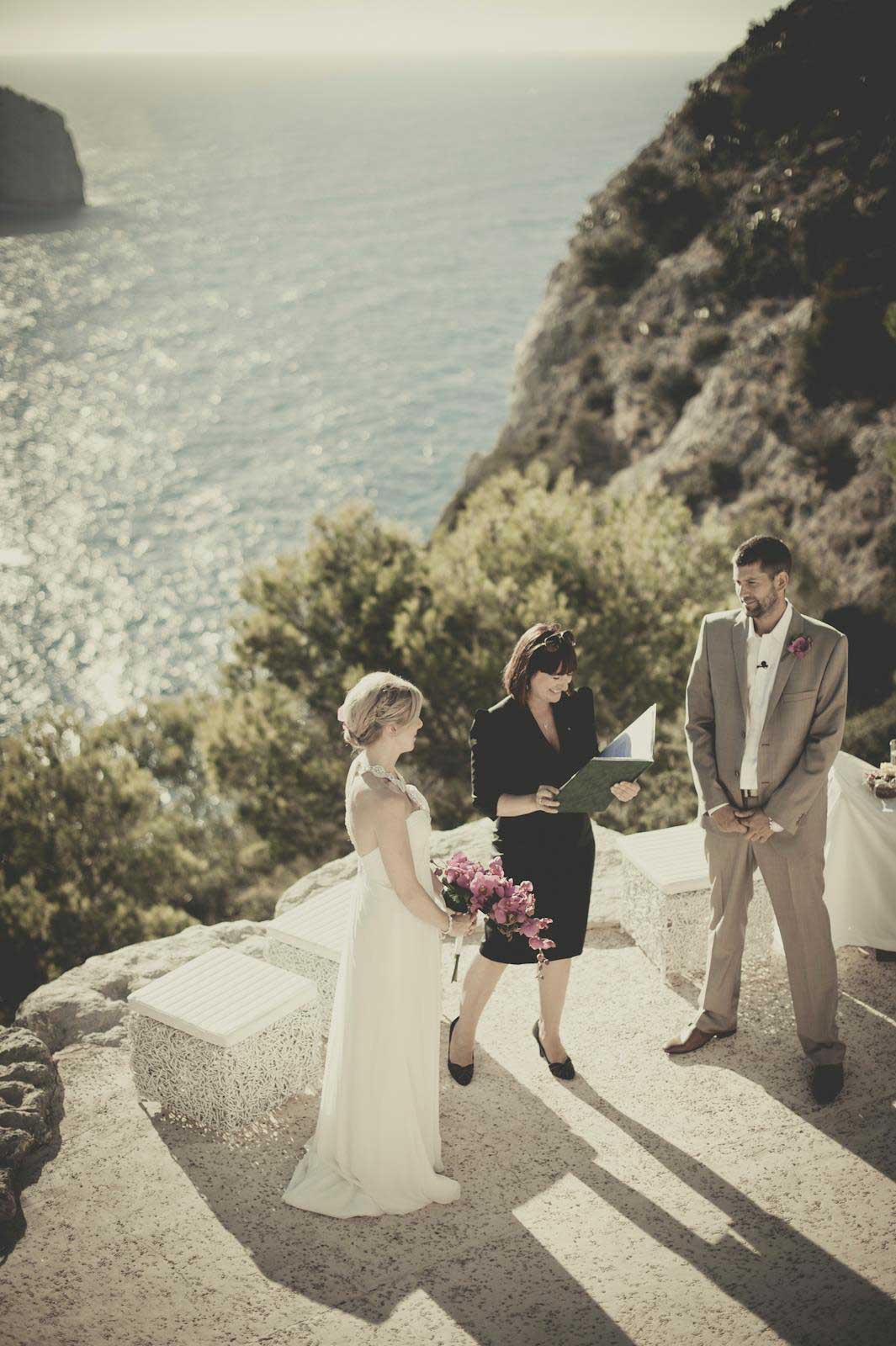 Beach cliff wedding