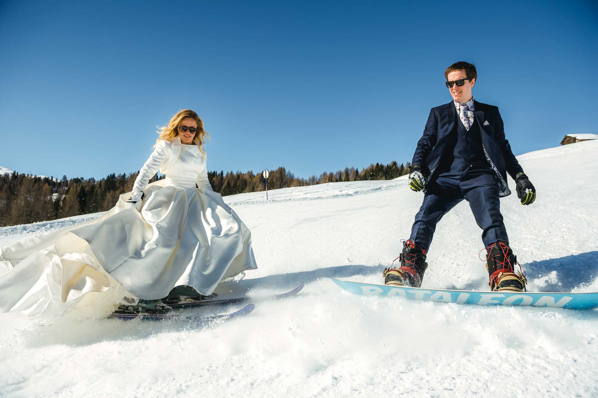 Humanist wedding couple on the ski slopes for their wedding